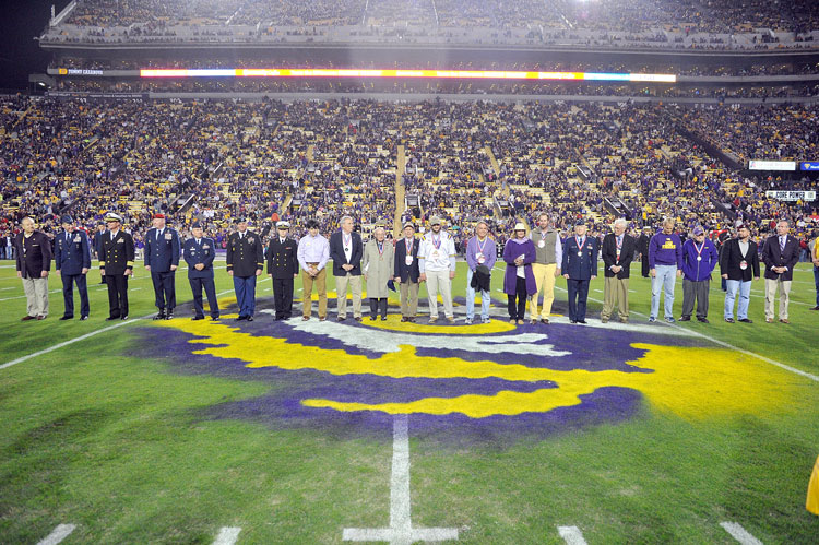 LSU alumni inducted into the 2015 military Hall of Honor during LSU Salutes 2015 were honored on the field in Tiger Stadium at  <a href=